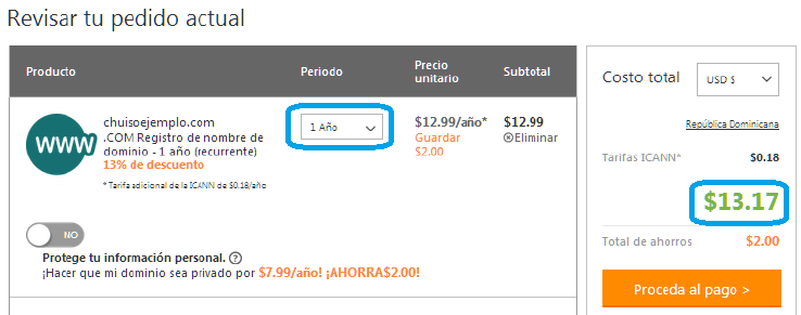 comprar dominio barato en GoDaddy