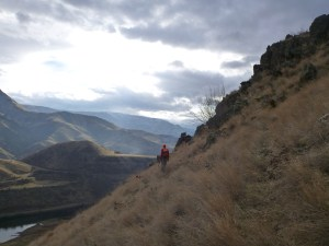 Man chukar hunting in Idaho