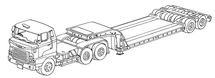 働く車ぬり絵「重機運搬車・低床トレーラー・日野」