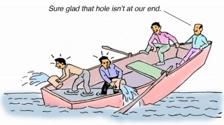 """Cartoon of 4 guys in a row boat that has a hole in it. 2 guys are in the back bailing water hard while the other two are sitting at the top saying, Sure glad the hole isn't at our end!"""" They need to learn to make their team work."""