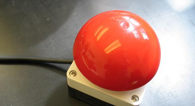 """"""" Russell Davies, one of the co-founders of Newspaper Club asked us to build him a dedicated large red button that would he would push to advance his slides for his talk during the LIFT 10 conference. (Video here). This was so that he could..."""
