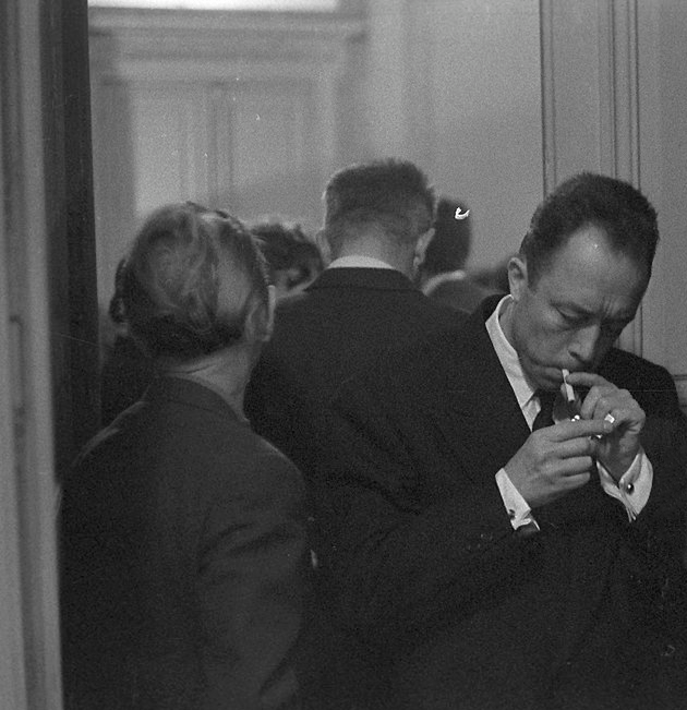"barcarole: "" Albert Camus in 1957 during a reception organized in his honor by Gallimard. Photo by Manuel Litran. """