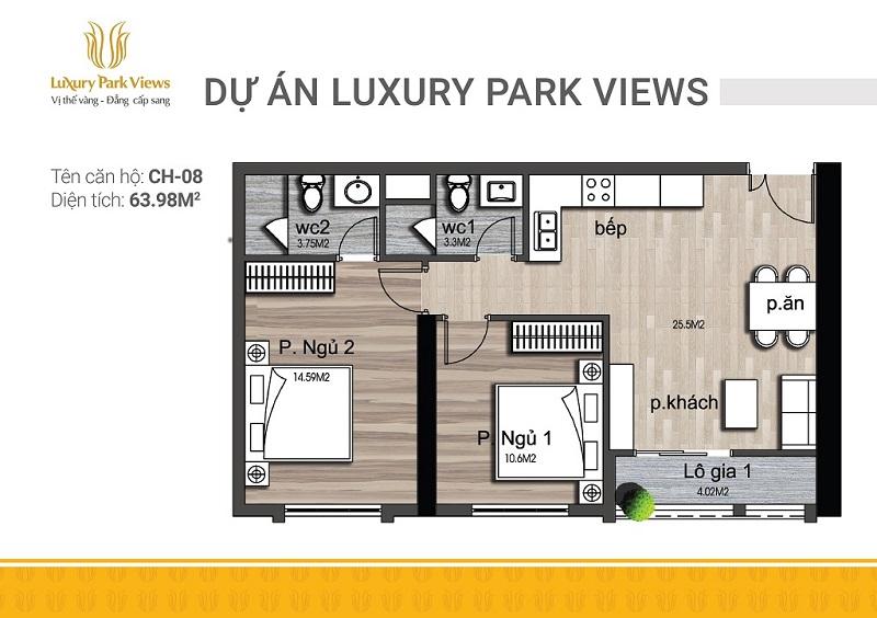 Thiết kế căn 08 chung cư Luxury Park View Cầu Giấy