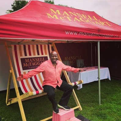 Dave Benson in a Giant Deckchair