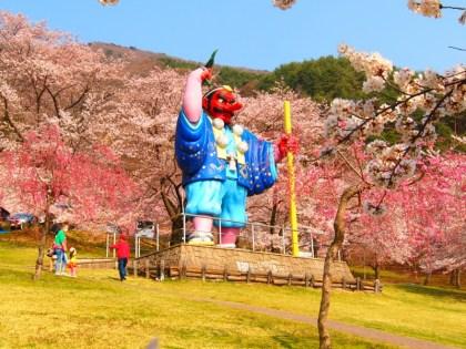 千曲市桜の名所お花見スポット戸倉宿キティパーク天狗