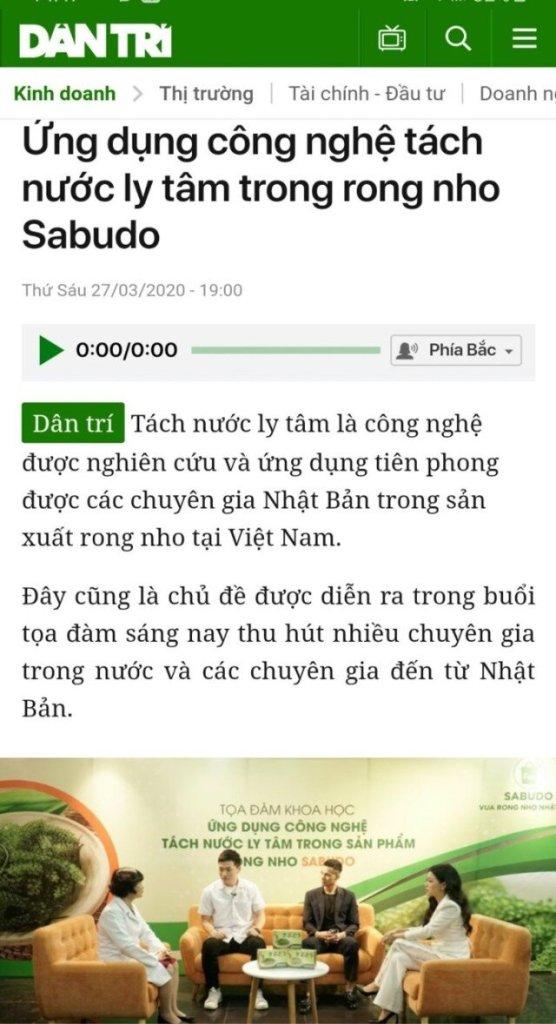 Báo Dân trí nói về Rong nho Sabudo chính hãng