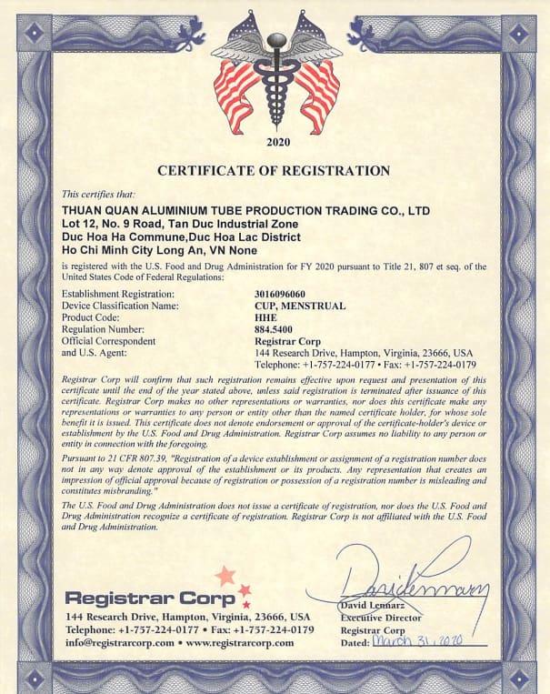 Chứng nhận FDA Hoa Kỳ