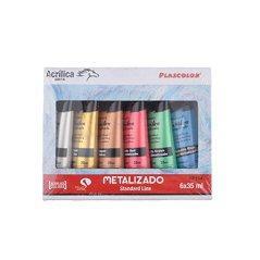 Pack de 6 tubos de pintura acrílica multicolor plascolor