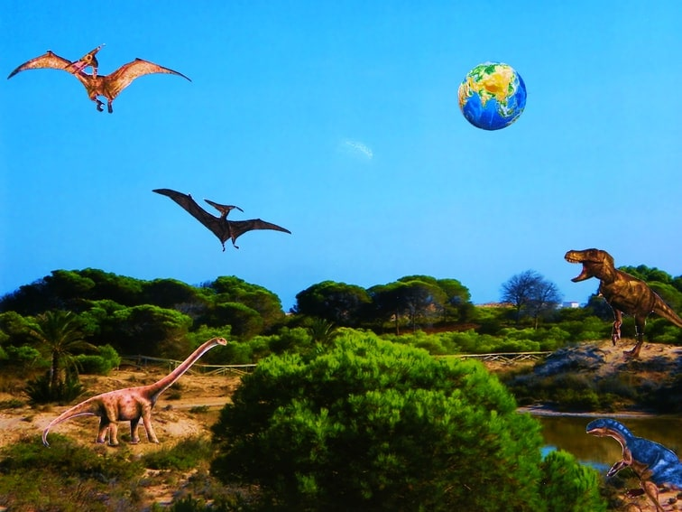 collage prehistorico de dinosaurios