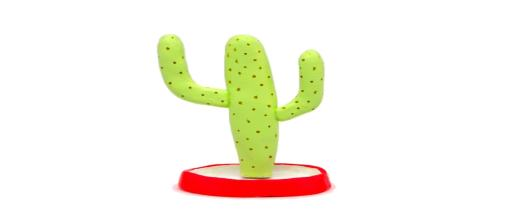 portajoyas con forma de cactus saguaro gigante hecho con pasta para modelar de jovi