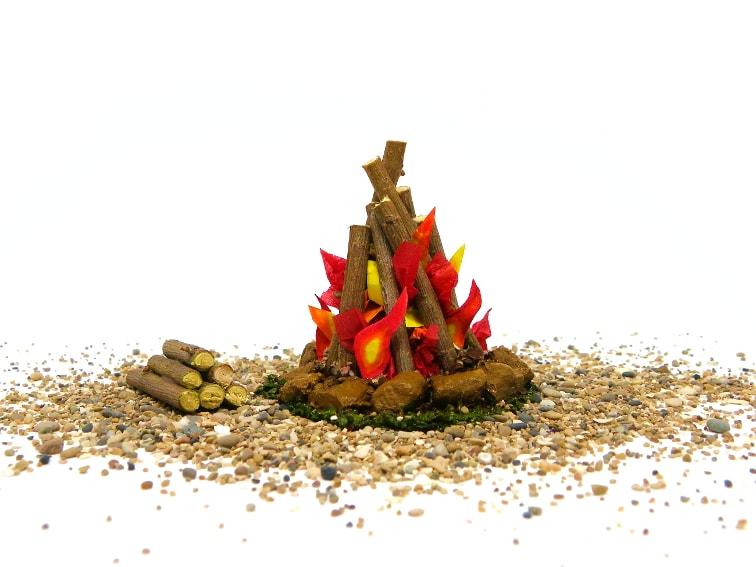 miniatura decorativa de una hoguera para la escenografia del belen