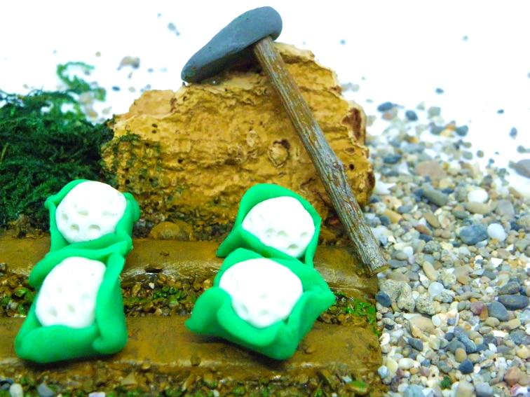miniatura para decorar el belen con una huerta de coliflores