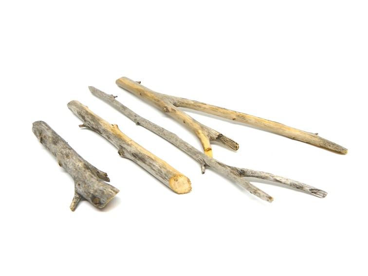 ramas secas cortadas para hacer adorno colgante