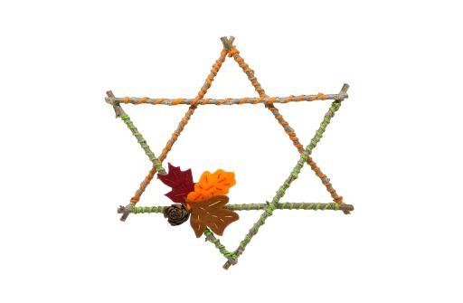 estrella decorativa hecha con ramas secas hojas cacudas de fieltro y cuerda de papel
