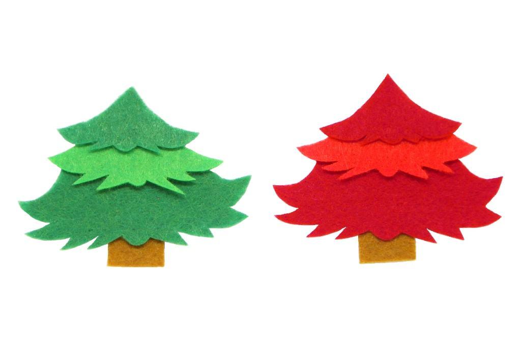 abetos hechos con fieltro de colores para guirnalda de navidad