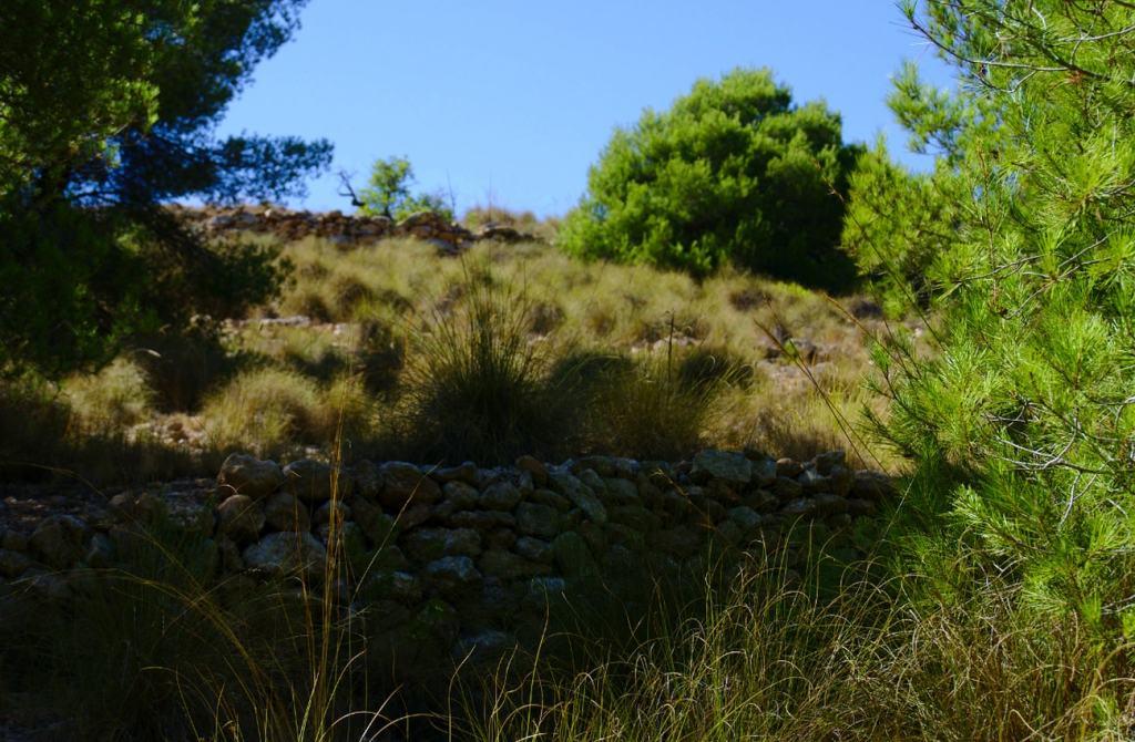 bancada de piedra en la ladera del barranco de paco mañaco santa pola