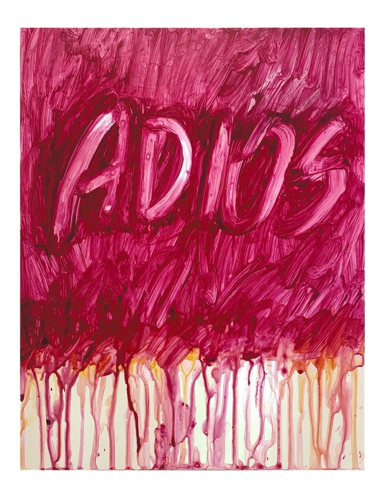 "Maroon/pink painting of handwritten text stating ""adios"" with the paint dripping in the lower half of the paper."