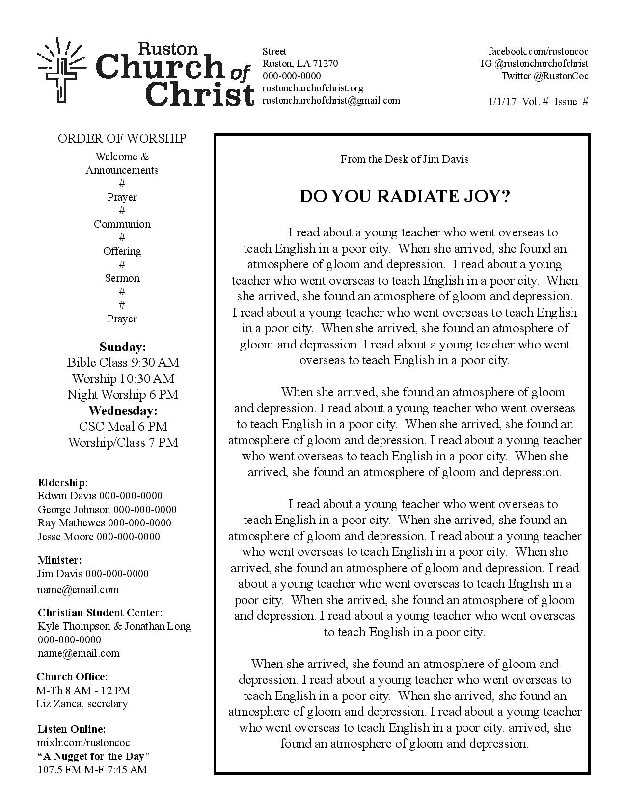 Church Bulletin Ideas Examples Of Church Bulletins And