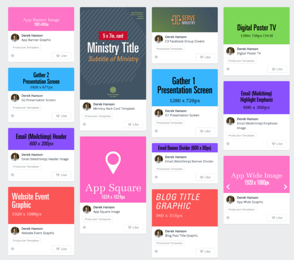 Screenshot of graphic design templates in Canva.