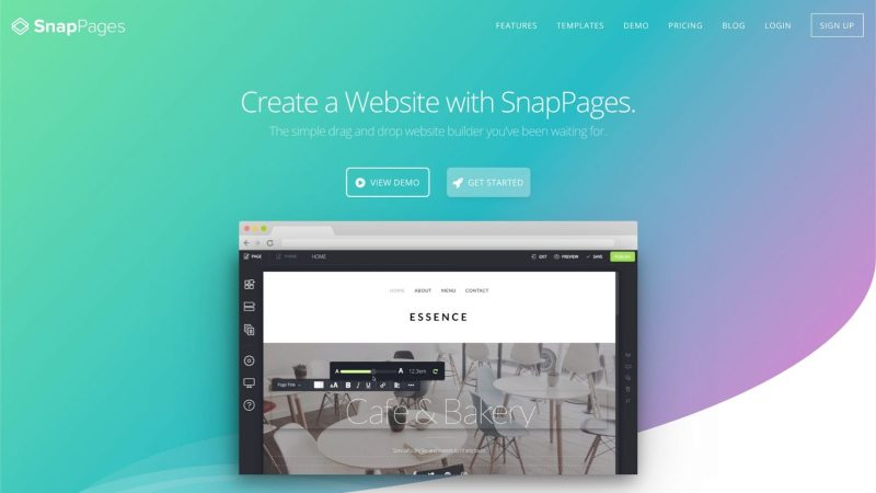 screenshot of Snappages homepage website solution