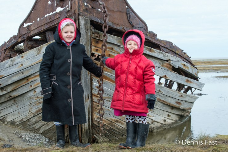 Small girls. Big history. Mooswa. Nanuk. Dennis Fast photo.