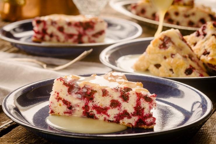 Wild Arctic Craneberry Cake with warm butter sauce. Ian McCausland photo.