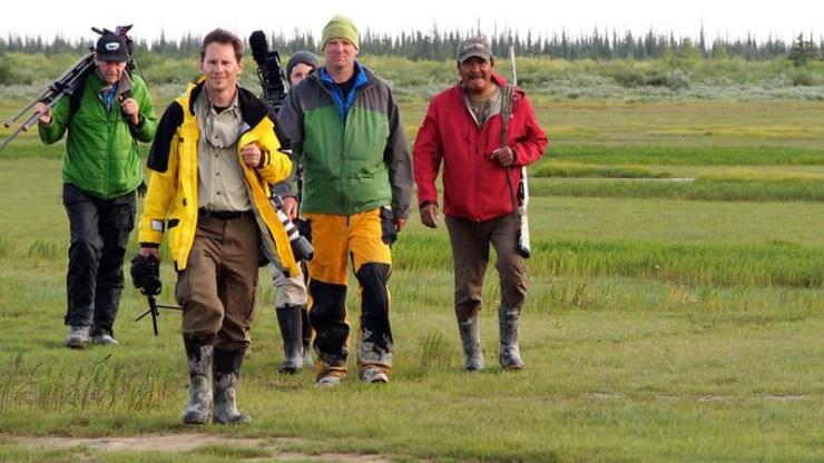 George Kourounis (yellow jacket) and crew at Nanuk Polar Bear Lodge.  Photo by Zorianna Kit.
