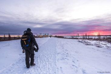 Walking towards Dymond Lake Ecolodge at sunset.