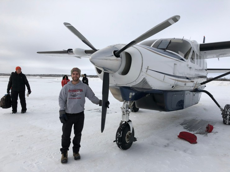 Bush pilot Jason Francoeur, who ferried us from Gillam to Nanuk Lodge, and pointed out several herds of caribou on the frozen lakes.