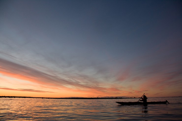Peace of mind in a kayak on Hudson Bay. It doesn't get any better. Michael Poliza photo,
