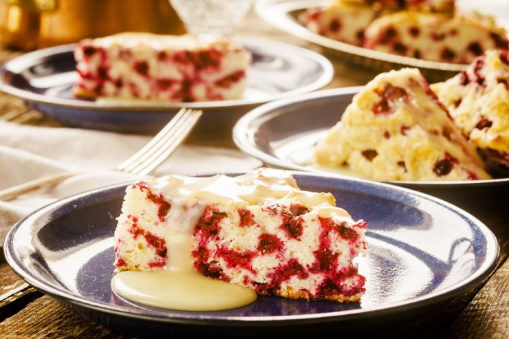 Wild Arctic Cranberry Cake with Warm Butter Sauce. Ian McCausland/Shel Zolkewich photo.