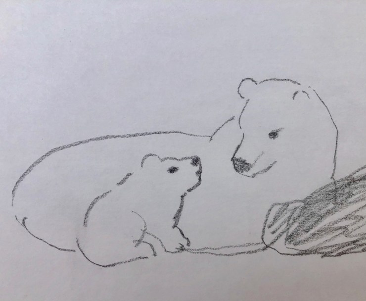 Tender moment at Seal River. Illustration by Azumi Takamatsu. Click image for Azumi's Web site. Also on Instagram and Facebook @azumimushi.