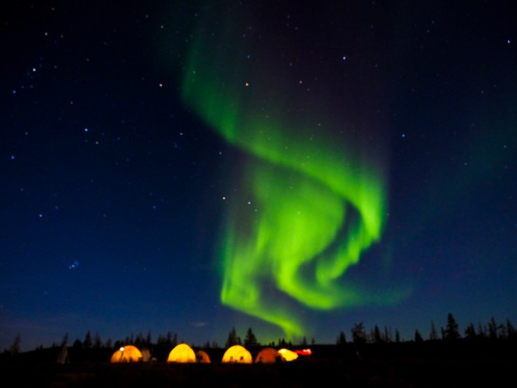 Northern lights at Tundra Camp on the Arctic Safari. Jad Davenport photo.