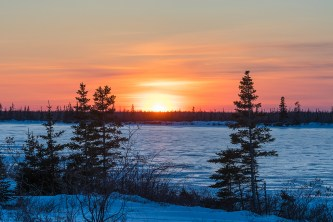 Sunset at Dymond Lake Ecolodge. Great Ice Bear Adventure. Henry Altszuler photo.