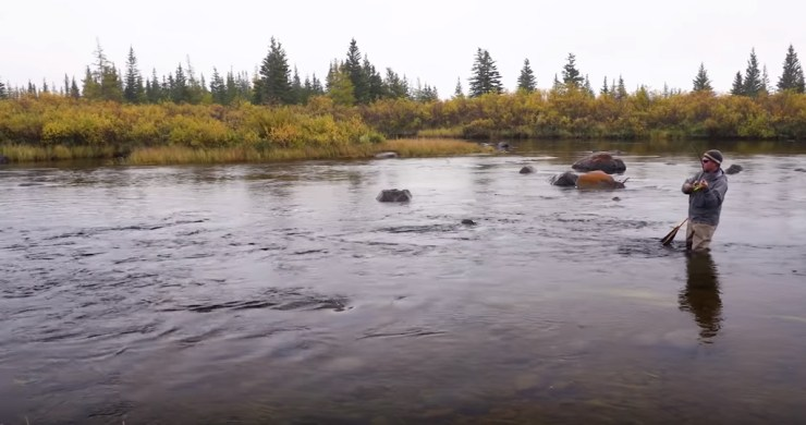 The New Fly Fisher producer Mark Melnyk fly fishing for sea-run brook trout at Nanuk Polar Bear Lodge.