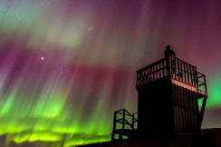 Northern lights from the tower. Seal River Heritage Lodge. Dennis Fast photo.