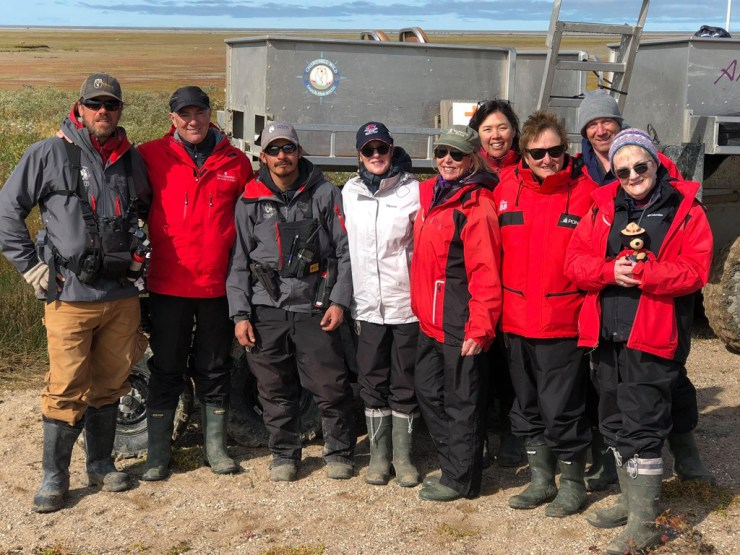 Dynie Sanderson (5th from right or left) with guides and fellow guests at Nanuk.