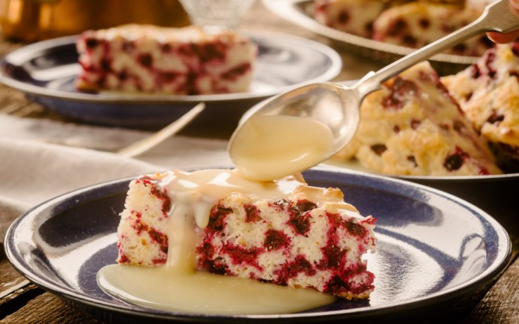 Wild Arctic Cranberry Cake with Warm Butter Sauce. Ian McCausland photo.