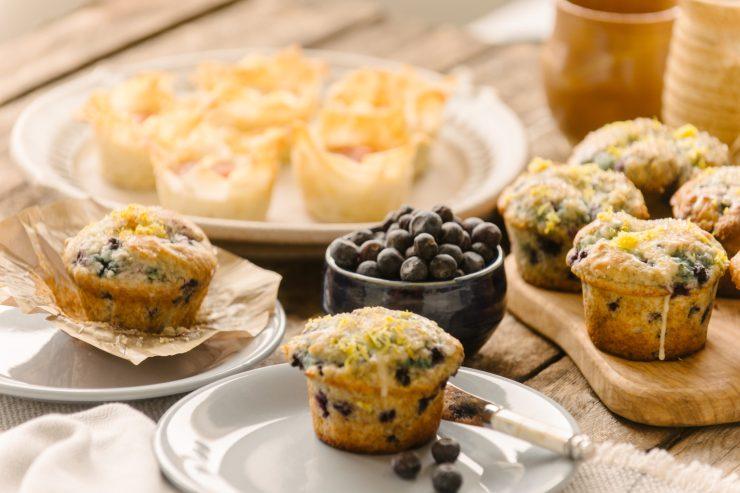 Sunshine Blueberry Muffins and Phyllo Eggs. Ian McCausland photo.