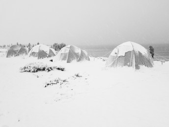 Surprise snowstorm. Tundra Camp at Schmok Lake. Jad Davenport photo.