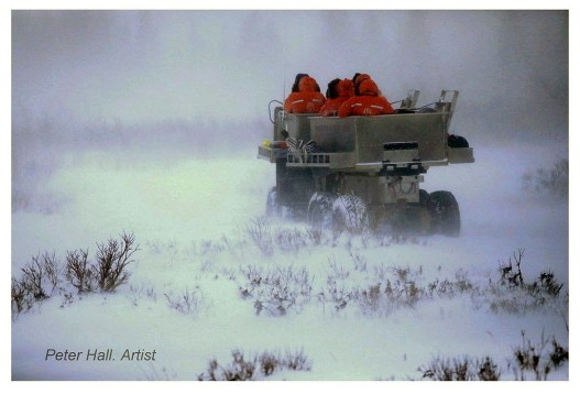 Guests ride Tundra Rhino through snowstorm at Nanuk Polar Bear Lodge. Peter Hall photo.