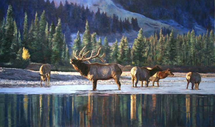 Call of the Wild. Original oil painting by Linda Besse that resulted in her being named the 2017 Rocky Mountain Elk Foundation Artist of the Year.