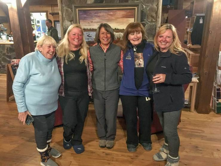 Gillian and friends at Nanuk Polar Bear Lodge. L to R, Lily Frechet, Ruth Elwell-Steck, Virginia Huang, Eliane Cloose-Yamaguchi, Gillian.