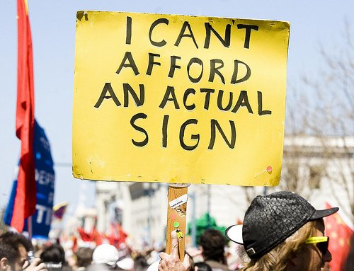 protest sign can't affort
