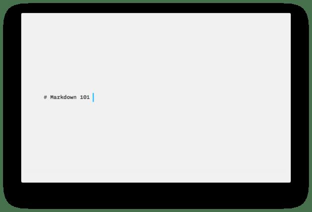 Markdown 101 Writer Screen