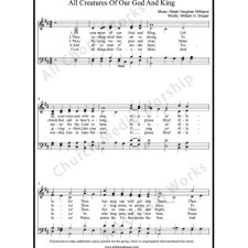 All Creatures of Our God and King Sheet Music (SATB) with Practice Music tracks. Make unlimited copies of sheet music and the practice music.