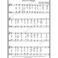 Away In A Manger Sheet Music (SATB) with Practice Music tracks. Make unlimited copies of sheet music and the practice music.