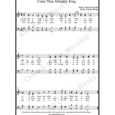 Come Thou Almighty King Sheet Music (SATB) with Practice Music tracks. Make unlimited copies of sheet music and the practice music.