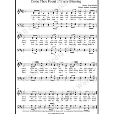 Come thou fount of every blessing Sheet Music (SATB) with Practice Music tracks. Make unlimited copies of sheet music and the practice music.