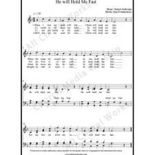 He Will Hold Me Fast  Sheet Music (SATB) with Practice Music tracks. Make unlimited copies of sheet music and the practice music.